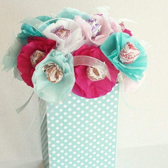 spring summer tissue paper flowers with lollipop sucker center  Tiffany Blue base 7 inches tall for birthday wedding baby shower
