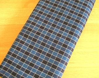 Japanese High-quality Cotton Indigo Fabric (Check with white line)