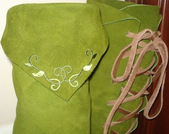 Forest Elf ElfBoots Moss green KneeHigh with Vine detail on Back & leather soles