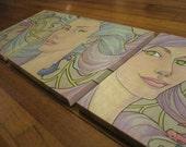 Triptych Mermaids Original Paintings