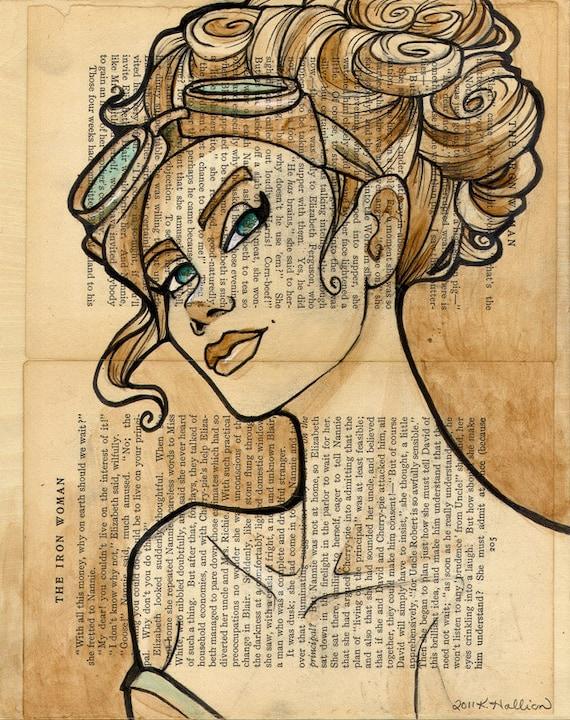 Large Steampunk Iron Woman 5 Print