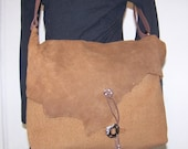 Leather Cashmere Wool Messenger Bag