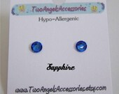 Swarovski crystal stud sapphire earrings studs hypo-allergenic