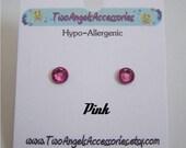 Swarovski crystal stud Pink earrings studs hypo-allergenic