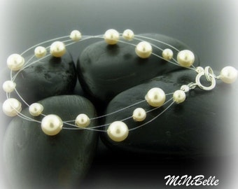 Swarovski Pearl Multi Strand Illusion Floating Bridal Jewelry Bracelet available in white or cream pearls