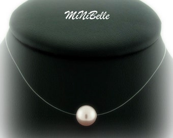 Floating Pearl Necklace - Illusion Bridal Necklace - Single Pink Pearl Floating Pearl Necklace- Wedding Jewelry
