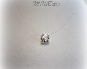 Brilliant Crystal Swarovski Floating Pendant Necklace. Illusion Necklace. Floating Crystal Necklace. Illusion Wedding Jewelry.