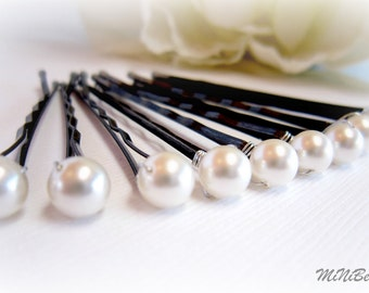 Bridal Hair Pins. Pearl Bridal Hair Pins. Simple Pearl Hair Pins. White Pearl Bobby Pins. Wedding Hair Pins. 10 Pearl Hair Pins. 6mm