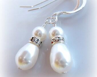 Bridal Earrings. White Pearl Earrings. Pearl Earrings. Short Pear Shape Pearl Earrings. White Swarovski Pearl Earrings. Bridesmaids Earrings