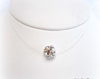Sprinkles Swarovski Crystal Illusion Necklace. Floating Crystal Necklace. Bridal Floating Necklace. Wedding Jewelry