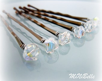Bridal Hair Pins. Crystal Bridal Hair Pins. Crystal Hair Bobby Pins. Set of 6 Crystal Wedding Hair Pins