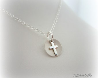 Cross Necklace. sweet simple sterling silver cross necklace. first communion. confirmation jewelry