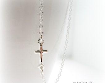 Sideways Cross Necklace. Silver Cross Necklace.  Sterling Silver Sideways Cross Necklace. Horizontal Cross