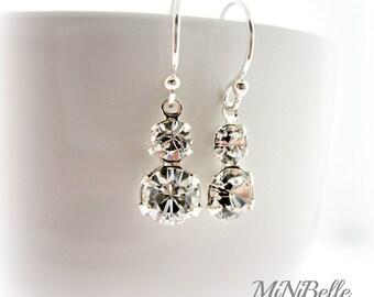 Bridal Earrings. Swarovski Bridal Earrings. Crystal Earrings. Double Stone Bridal Earrings