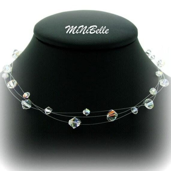 3 Strand Swarovski Crystal Floating Necklace. Illusion Bridal Crystal Necklace. Wedding Jewelry