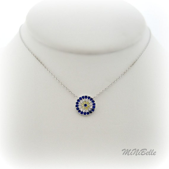 Evil Eye Necklace. Blue Evil Eye Sterling Silver Necklace
