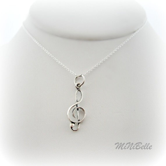 Music Note Necklace. Treble Clef Charm. Sterling Silver Music Note Charm Necklace. I Love Music Charm Necklace