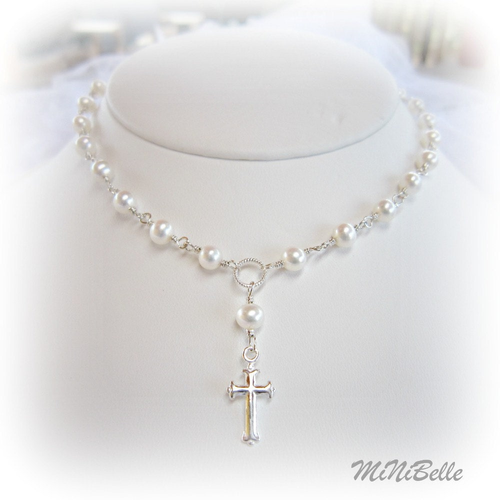Cross Necklace Pearl Cross Necklace Religious Necklace