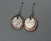 Sterling Silver and Copper Disc Earrings