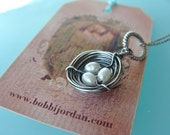 Birds Nest Jewelry Sterling Silver Birds Nest Necklace pearl family kids  new mother new baby  holiday gift  special shipping