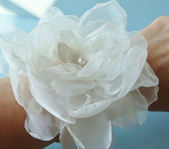 Bridal Wrist Corsage Flower Fascinator  Silk Bridal Cuff  Pearl Swarovski Crystal