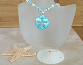 Aqua and White Shell Necklace
