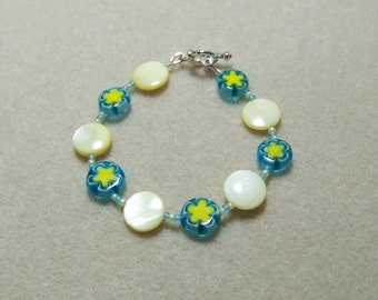 Aqua and Yellow Shell Petite/Youth Size Bracelet