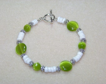 Lime and White Shell Bracelet