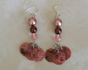Pinks and Browns Pearl and Shell Earrings
