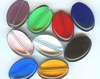 11mm x 16mm Czech Glass Oval Beads Mixed Colors (100)