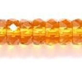 6mm Topaz Czech Glass Faceted Rondelle Beads (100)