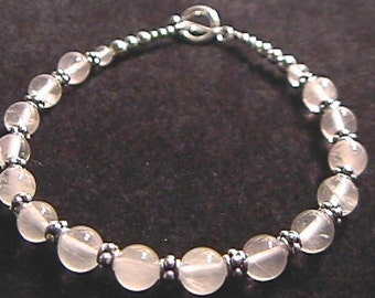Rose Quartz and Sterling Silver Bali Bead Bracelet 7.5 Inch