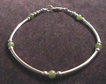 Jade and Sterling Silver Tube Style Bracelet 7 - 8 Inch Length
