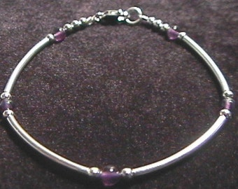 Amethyst and Sterling Silver Tube Style Bracelet 7 - 8 Inch Length