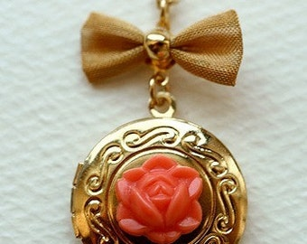 Coral Blossom Locket Necklace -- sale
