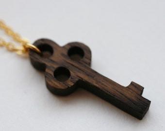 Wooden Skeleton Key Necklace