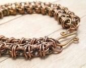 Oxidized Copper Chain Mail Bracelet, Beez to Butterflies, Women's Chain Maille Jewelry