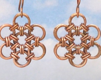 Oxidized Copper Earrings, Copper Chainmail Jewelry, Copper Jewelry, Dangle Earrings for Women, Chainmaille Earrings, Rustic Jewelry