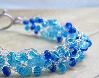 Blue Crochet Bracelet, Beaded Bracelet, Wire Jewelry, Bead Crochet Jewelry, Royal Blue Wirework, Crochet Accessory, Blue and Silver