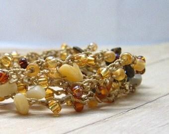 Crochet Wrap Bracelet, Boho Chic Beaded Bracelet, Anklet, Necklace, Surfer Chic Jewelry, Wrap Around Bohemian Style