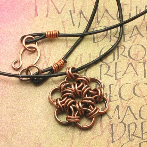 Copper Japanese Flower Chainmaille Necklace