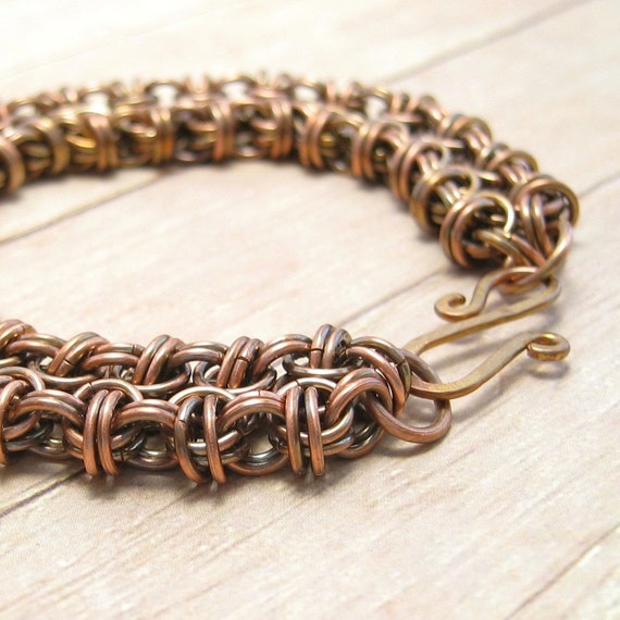 Oxidized Copper Chain Mail Bracelet, Beez to Butterflies, Women's Chain Maille Jewelry