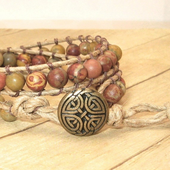 Wrap Bracelet, Boho Jewelry, Bohemian Style, Handmade Hemp and Rainbow Jasper, Tan, Stone, Beaded, Earthtones
