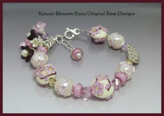 Spring Flower Floral Lampwork beaded pink Bracelet with Swarovski Crystal - Kanzan Blossom - BHV, BBMB, SRAJD