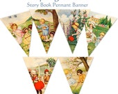 Story Book Spring Time Pennant Banner Bonus 2.25 inch tags