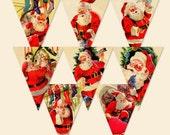 Santa Banner Retro Images Printable Editable