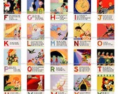 Mother Goose Alphabet Wall Art - Printable - 26 Letters