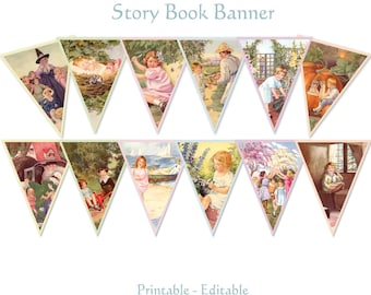 Mother Goose Story Book Banner Nursery Rhymes