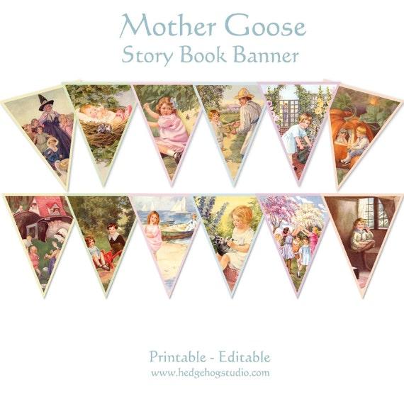 Mother Goose Story Book Banner Nursery Rhymes