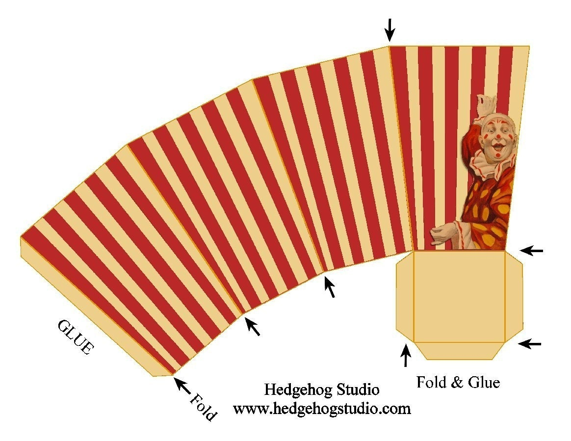Vintage circus popcorn box favor by hedgehogstudio on etsy for Popcorn container template